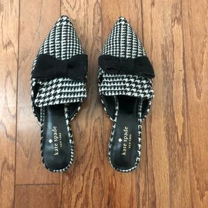 Kate Spade Karin B/W Houndstooth Wool Mules 7 1/2M